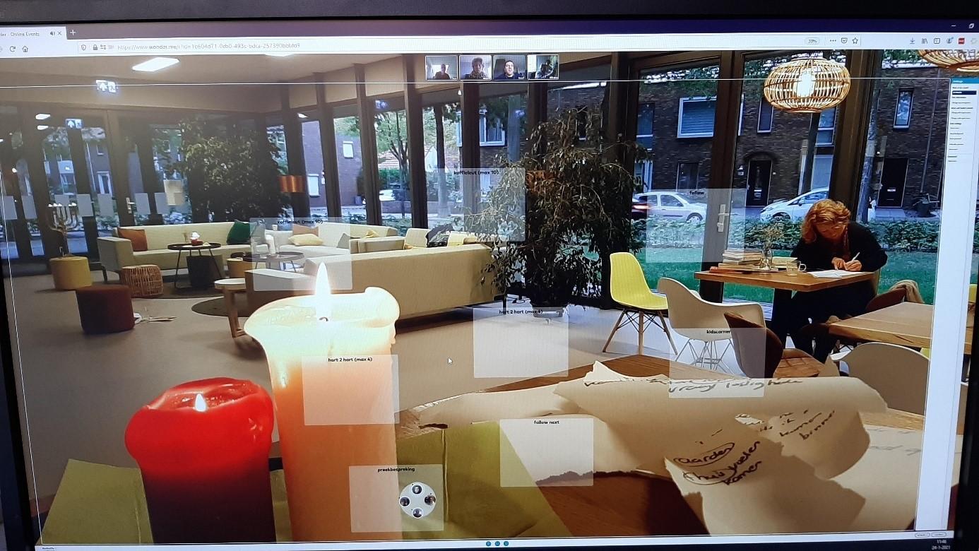 Screenshot van de digitale koffieruimte in Wonder.me. Klik om naar de koffieruimte te gaan.